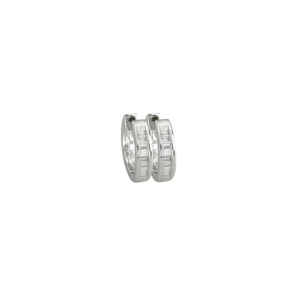 1/8 Carat Baguette Diamonds 14k White Gold Hoop Earrings (0.44 inch x 0.10 inch)