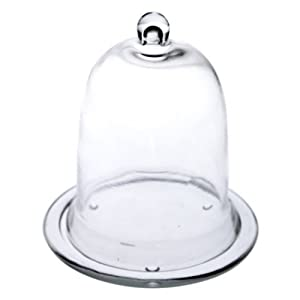 West5Products Glass Cloche Bell Jar With Glass Base H 15cm