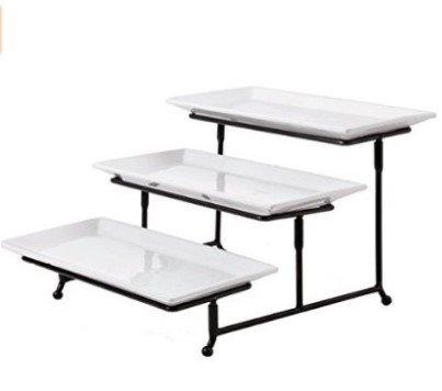 3 tier rectangular serving platter three tiered cake tray stand food server display plate rack. Black Bedroom Furniture Sets. Home Design Ideas