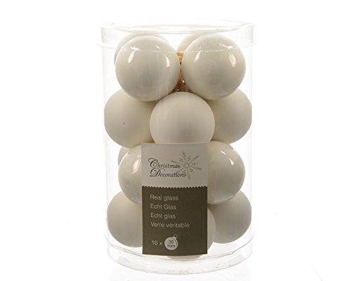 16 palline natalizie palline di Natale albero di Natale in vetro 35 mm Diametro woll bianco opaco e lucido