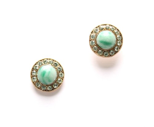 Round Shaped Earrings from 'Green Serenity' 2013 Collection by Israeli Amaro Jewelry Studio Embellished with Green Aventurine, Variscite, Lime Chrysophase, Yellow Turquoise, Olive Jade and Swarovski Crystals; 24K Rose Gold Plated; Handmade in Israel