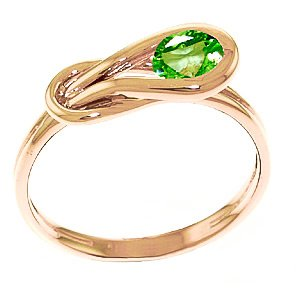 QP Jewellers Natural Peridot Ring in 9ct Rose Gold, 0.65ct Round Cut - 4214R