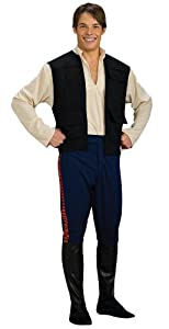 Star Wars Deluxe Hans Solo Costume, Black/Blue, Standard