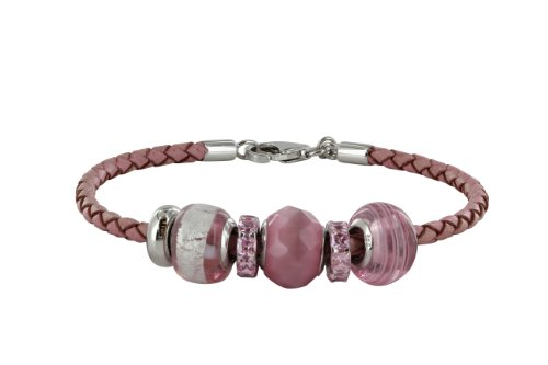 Chrysalis Pink Leather Plait and 92.5 Sterling Silver Rhodium Plated California Pink Glass Bead and Vintage Style Cubic Zirconia Spacer Readymade 20cm Bracelet Boxed Set