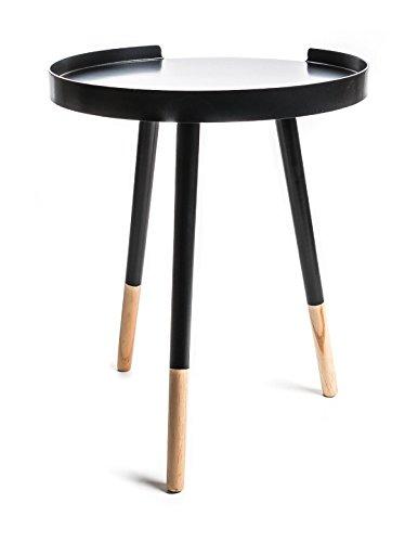 Tablo-Beistelltisch lackiert dreibeinig mit gebrochener Kante, Durchmesser ca. 40 cm, lieferbar in den Farben Grau, Schwarz oder Weiß (Schwarz)