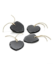 4 Slate Heart Napkin Tags