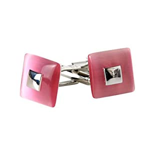 Riveting Pink Square Catseye Silver Cufflinks with Presentation Box