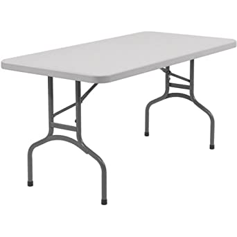 """National Public Seating BT3060 Steel Frame Rectangular Blow Molded Plastic Top Folding Table, 1000 lbs Capacity, 60"""" Length x 30"""" Width x 29-1/2"""" Height, Speckled Gray/Gray"""