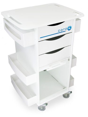 "TrippNT 51007 High Density Polyethylene/ABS Core DX Multi Tasking Storage Lab Cart with 3"" Rubber Casters, 174lbs Capacity, 23"" W x 34.5"" H x 17.5"" D, 6 Shelves"