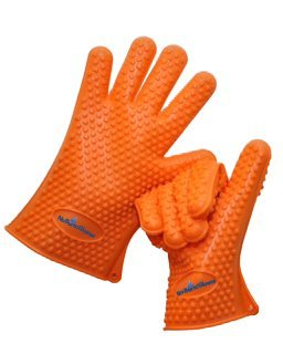 "Best No Burn 100% Silicone Barbecue Grilling, Cooking, Oven Gloves * Waterproof-Unlike Potholders Or Mitts. *Add These ""Working"" Gloves To Outdoor Smoker Tools.*Burns, Scalds And ""Sizzles"" A Thing Of The Past. 100% Satisfaction Guaranteed front-158340"