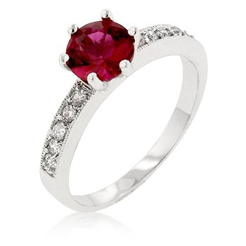 White Gold Rhodium Bonded Engagement Ring with Round Cut Garnet Center CZ and Clear CZ and Milligrain Accents in Silvertone