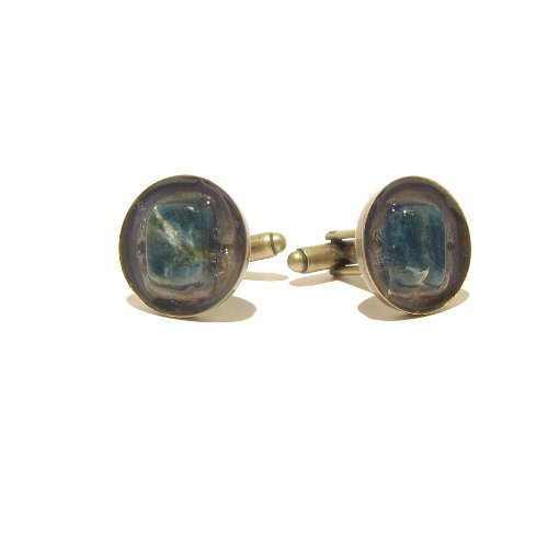 Apatite Cufflinks 01 Blue Stone 18mm Antiqued Brass Crystal Healing Rock
