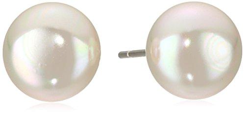 Majorica 10 mm White Flat Simulated Pearl Stud Ear…