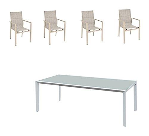 greemotion Gartenmöbel Set Stockholm beige/grau, 5-teilige Sitzgarnitur mit Esstisch, wetterfestes Lounge Set, Gartengarnitur fur 4 Personen, Gartenlounge fur die Terrasse aus Alu und Textilene