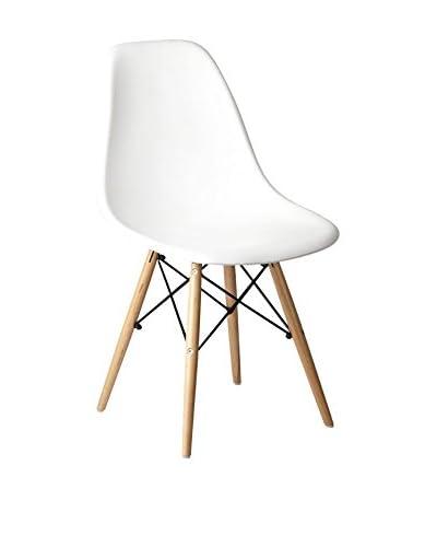 Set De 2 Sillas Wooden Polipropileno Blanco