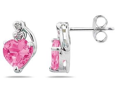 Heart Shape Pink Topaz and Diamond Earrings in White Gold