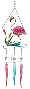 Tropical Fun Pink Flamingo Glass Wind Chimes Garden Decor