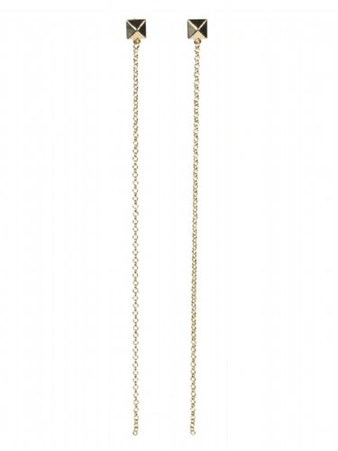 Jules Smith Cairo Pyramid Earrings with Long Chain - Gold