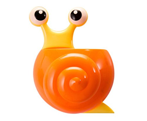 Cute Cartoon Snail Kids Toothbrush Toothpaste Holder Wall Mounted Suction Cup Bathroom Decor -Orange