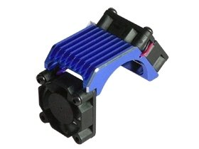3Racing #3R/3Rac-Mhs010/Bu Aluminium Brushless 540 Motor Heatsink -Twin With Cooling Fan - Blue Color For Most Rc Cars