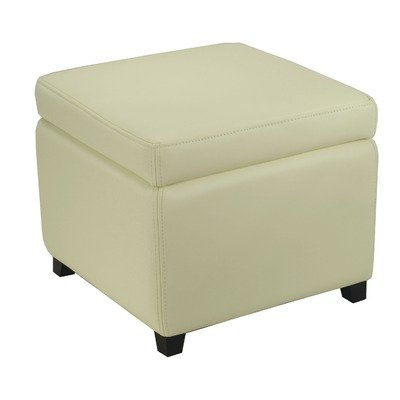 Safavieh Hudson Collection Ryder Leather Square Flip Top Ottoman, Off-White