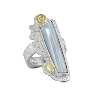 Myron Panteah Sterling Silver Elongated Gray Agate Ring with 14k Gold Accents from Relios