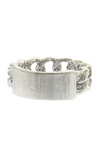 Trendy Fashion Jewelry Chain Name Tag Ring By Fashion Destination | (Silver)