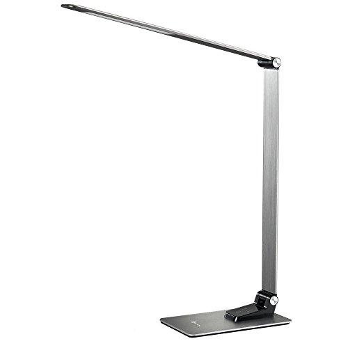 Schreibtischlampe Led TaoTronics Metall Tageslichtlampe 9W Touch-Control 3 Lichtmodi und 3 Helligkeitsstufen mit USB-Anschluss 5V 2A zum Aufladen von Smartphones und Tablets, Silber-Grau