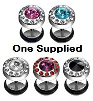Single 10mm Stud Earring (00 gauge effect fake ear plug) with Gem-Paved Austrian Crystal Stones - Silver Stainless Steel - One Supplied - Gift Pouch - Colour Opiton: RED AND FUSCHIA PINK