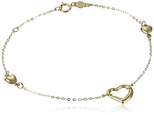14K Yellow Gold Puff Heart Station Bracelet, 7.25""