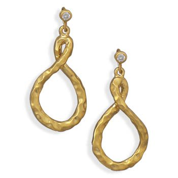 14 Karat Gold Plated Fashion Earrings with CZ