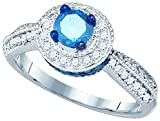 10k White Gold Round Blue Colored Diamond Solitaire & Natural Accents Womens Ladies Unique Bridal Wedding Engagement Ring - 1.15 Ct.t.w.
