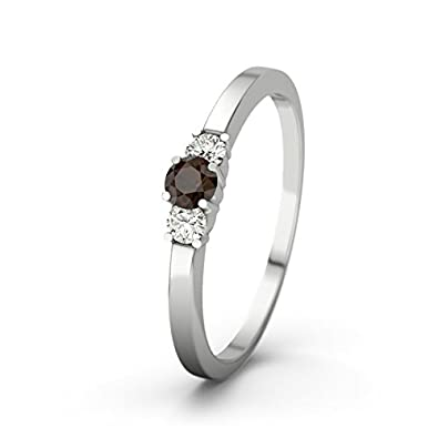 21DIAMONDS Women's Shannon 21PREMIUM CZ Smoky Quartz Diamond Ring - Silver Engagement Ring