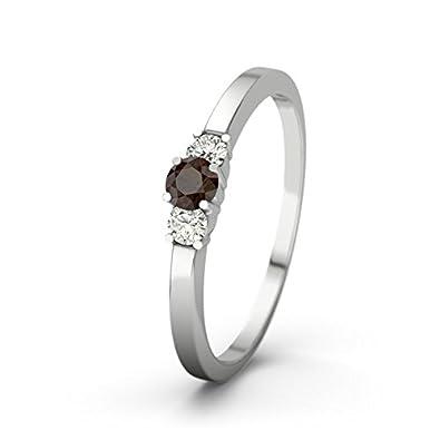 21DIAMONDS Women's Shannon 21PREMIUM CZ Smoky Quartz Diamond Ring-Silver Engagement Ring