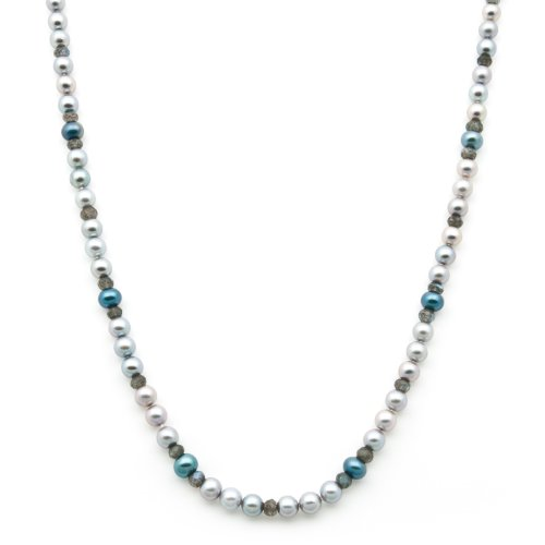 7-8mm Silver and Blue Freshwater Pearl Necklace with Faceted Labradorite Rondels in Sterling Silver in Gift Box