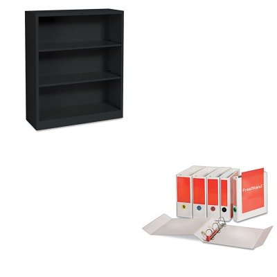 KITCRD43130HONS42ABCP - Value Kit - Cardinal FreeStand EasyOpen Binder with Locking Slant-D Shape Ring (CRD43130) and The HON Company HON Brigade 3-Shelf Steel Bookcase, Black (HONS42ABCP)