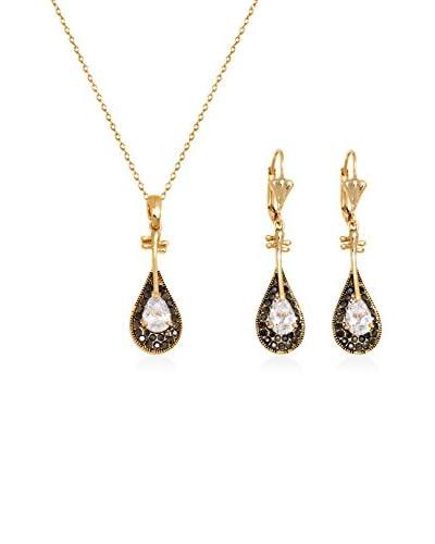 Barzel Swarovski Elements 2-Piece Mandolin Pendant Necklace & Earrings Set