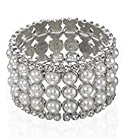 Faux Pearl Diamanté Stretch Bracelet