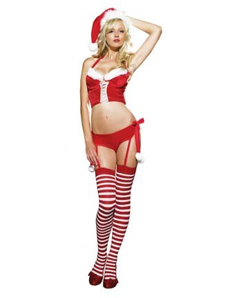 2Pc Naughty Miss Santa Claus Velvet And Plush Outfit