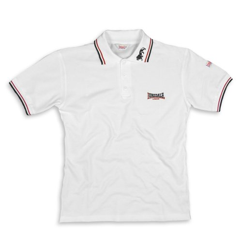 Lonsdale - Polo Shirt Lion, Polo, unisex, Bianco (weiß/bordeaux/blau), Small