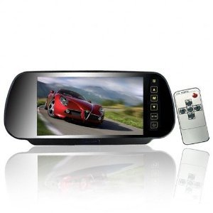 7 Inch 169 TFT LCD Widescreen Car Rearview Monitor Mirror with Touch Button, 480(W)x 234(H) Screen Resolution, Car /Automobile Rear View Mirror Display Monitor Support Two Ways Of Video Output, V1/V2 Selecting Beleuchtung