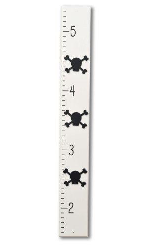 Homeworks Etc Pirate Skull and Bones Growth Chart, Ivory/Black