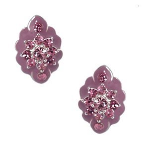 Fionnait Silver Pink Crystal Clip On Earrings
