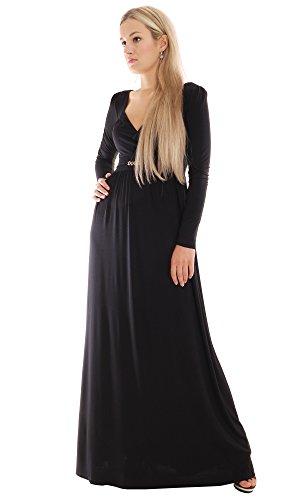 Montyq Long Black Holiday Dress Party Maxi Dress Empire Bohemian Style L1L 14/16(3) 150Cm