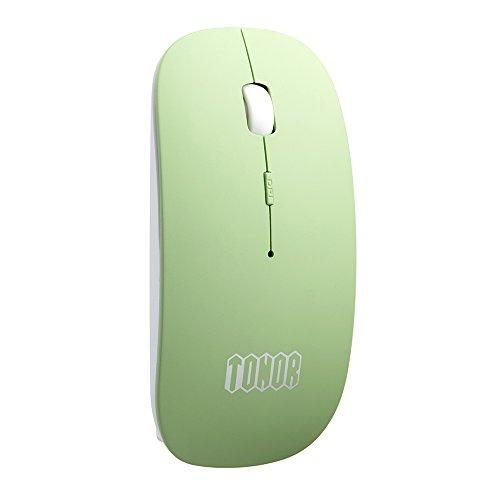 TONOR bunt matt dünn slim schlank aufladbar still Bluetooth 3,0 lautlose kabellos schnurlos Funkmaus wireless Maus 800/1200/1600 DPI für PC Mac Tablet Laptop, ohne Klickgeräusche Grün