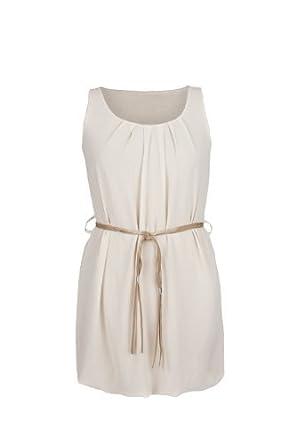 Armfreies Babydoll Sommerkleid im Tunika Stil beige Gr. S/M