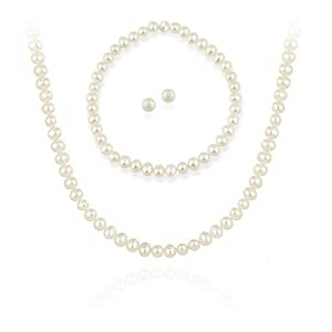 Sterling Silver 5.5-6mm Genuine Freshwater Cultured White Pearl Necklace Bracelet & Stud Earrings Set