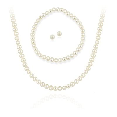 Sterling Silver 5.5-6mm Genuine Freshwater Cultured White Pearl Necklace Bracelet & Stud Earrings Set: Everything Else