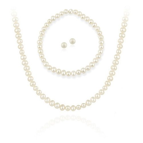 Sterling Silver Freshwater Cultured Pearl Necklace & Earrings Set
