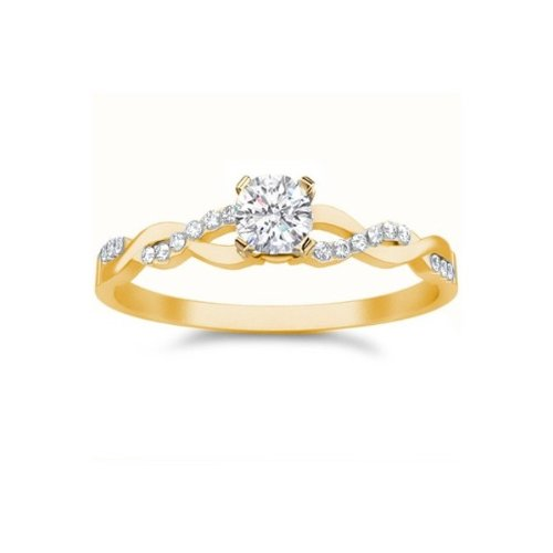 1 25 Carat Round Cut Diamond Cheap Engagement Ring on 10K Yellow – Gold 10k
